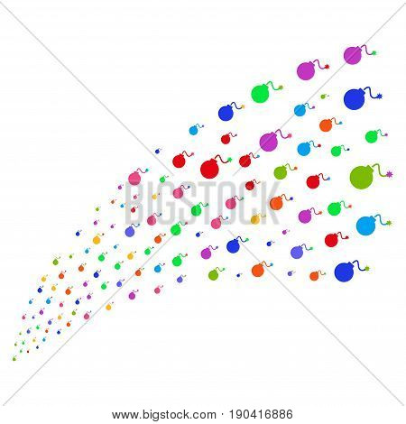 Stream of bomb icons. Vector illustration style is flat bright multicolored iconic bomb symbols on a white background. Object fountain done from symbols.