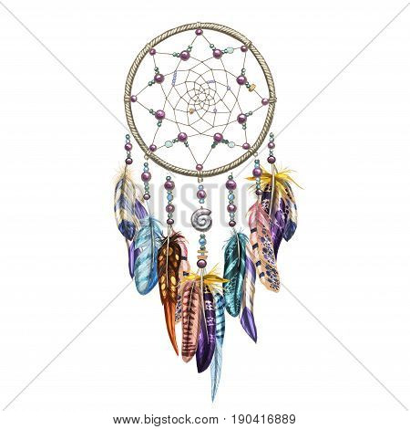 Hand drawn ornate Dreamcatcher with feathers, gemstones. Astrology, spirituality, magic symbol. Ethnic tribal element. Vector illustration