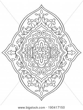 Floral medallion for design. Template for carpet wallpaper textile and any surface. Vector pattern of black ornament on a white background.