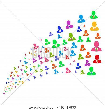 Fountain of boss symbols. Vector illustration style is flat bright multicolored iconic boss symbols on a white background. Object fountain made from pictograms.