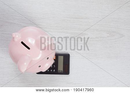 Pink Piggy Bank Standing On A Calculator