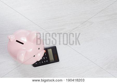 Little Pink Piggy Bank Standing On A Calculator