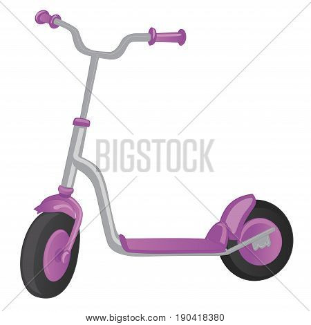 Vector roller scooter. Balance bike. Cartoon cute color kick scooter for design or web pages, posters. Push scooter isolated on white. Eco transport for kids
