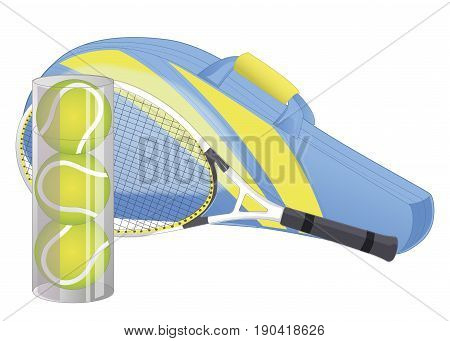 Tennis racket, tennis ball, sport equipment, racket cover. isolated on white. Vector illustration