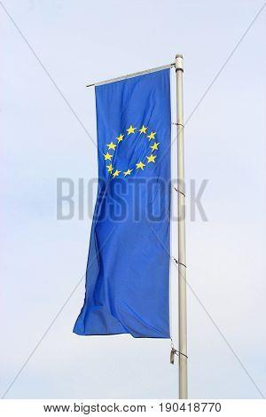 large European flag fluttering on a mast