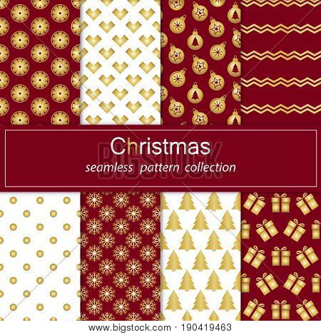 Set Golden collection of seamless patterns with red flowers. Set of seamless backgrounds with traditional symbols snowflake pine treestar and matching abstract patterns. Stock vector.Merry Christmas