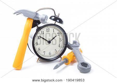 Round Retro Alarm Clock With Tools