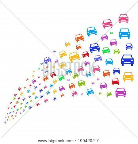 Fountain of car icons. Vector illustration style is flat bright multicolored iconic car symbols on a white background. Object fountain combined from pictographs.