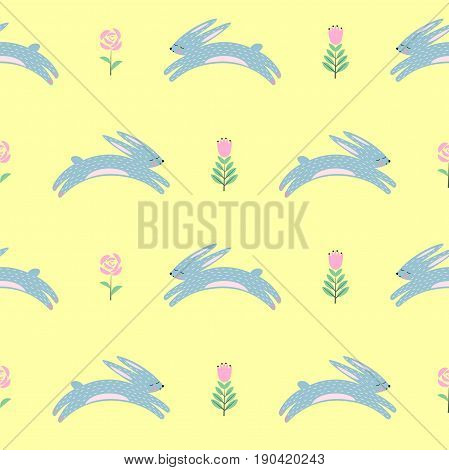 Easter bunny with spring flowers seamless pattern on yellow background. Cute scandinavian style holiday background. Cartoon baby rabbit illustration. Easter design for textile, fabric, decor.
