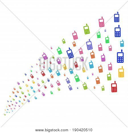 Source stream of cell phone icons. Vector illustration style is flat bright multicolored iconic cell phone symbols on a white background. Object fountain made from pictograms.