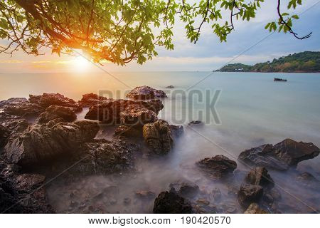 beautiful abandon sea scape with sun rising sky