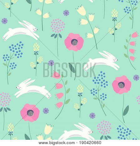 Easter bunny with spring flowers seamless pattern on green background. Cute childlike style holiday background. Cartoon baby rabbit illustration. Easter design for textile, fabric, decor.
