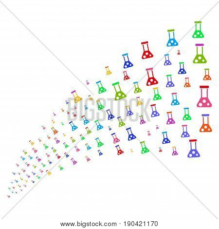 Fountain of chemistry symbols. Vector illustration style is flat bright multicolored iconic chemistry symbols on a white background. Object fountain made from pictograms.
