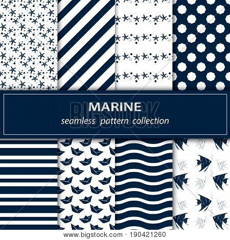 A set of eight paintings. Seamless fabric. A Maritime theme. Blue white. Boat. Ornament. Fish Pearls Star Wave Vector stock