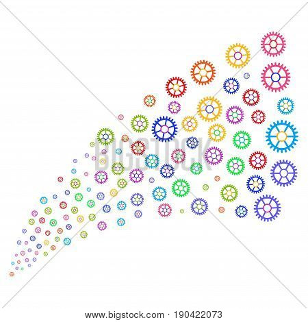 Fountain of clock wheel icons. Vector illustration style is flat bright multicolored iconic clock wheel symbols on a white background. Object fountain made from design elements.