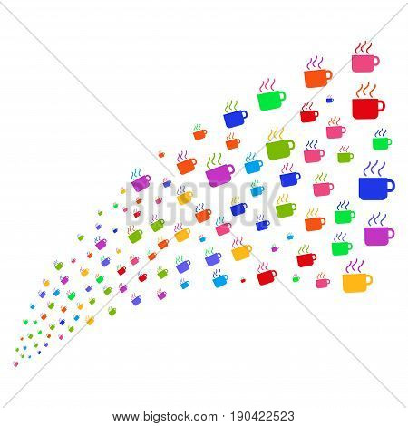 Fountain of coffee cup symbols. Vector illustration style is flat bright multicolored iconic coffee cup symbols on a white background. Object fountain created from design elements.