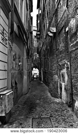 Rome, Italy - April 15, 2017: Narrow street in the center of Rome, Italy
