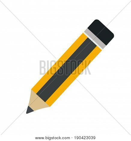 Pencil with eraser. Pencil isolated on white background. Flat design. Vector stock.