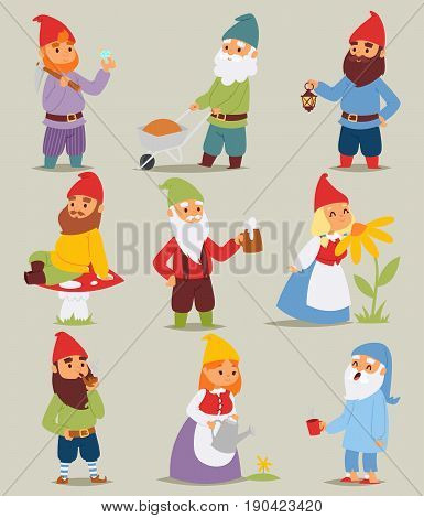 Gnome garden set funny little characters cute fairy tale dwarf man and woman in cap cartoon vector illustration
