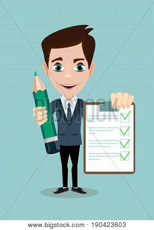 man with a questionnaire . Survey form icon vector, flat style good exam results paper sheet , quiz form idea, passed questionnaire, interview assessment illustration