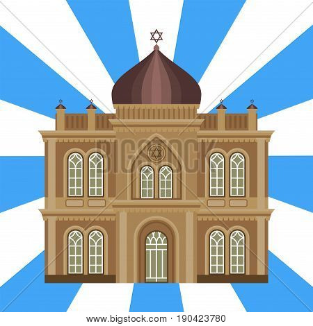 Cathedral jewish church infographic traditional temple building landmark tourism vector illustration. World religions history place historic monument.
