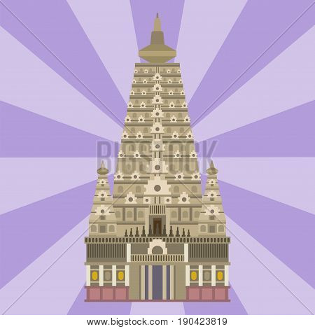Cathedral chinese church infographic traditional temple building landmark tourism vector illustration. World religions history place historic monument.