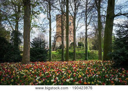 Tower of Groot-Bijgaarden Сastle in Brussels, Belgium