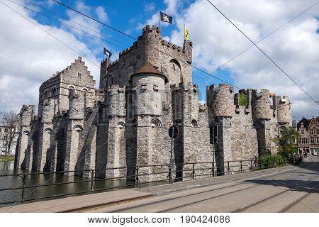 Medieval castle Gravensteen in centre of Gent,  Belgium