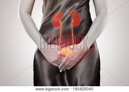 Woman with hands holding her crotch. Female anatomy concept.
