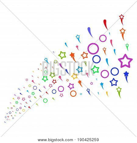 Fountain of confetti stars symbols. Vector illustration style is flat bright multicolored iconic confetti stars symbols on a white background. Object fountain constructed from pictograms.