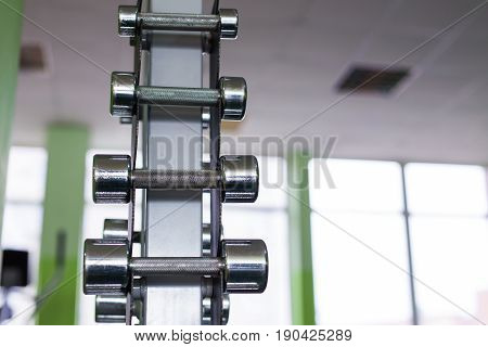 Rows of dumbbells in the gym. Sport and fitness