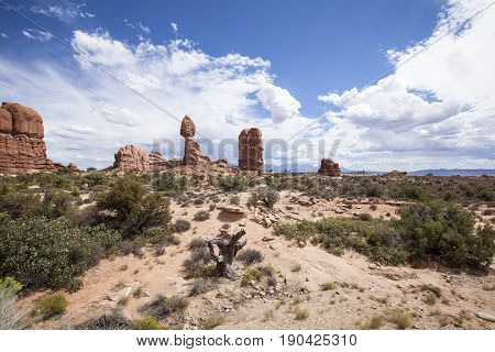 Balanced Rock, in Arches National Park, Utah.