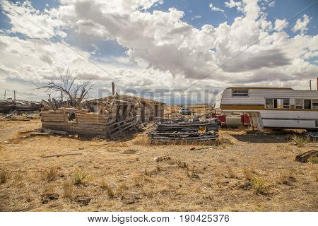 Cisco Utah USA - September 03 2016: Abandoned buildings and rubble in the ghost town of Cisco