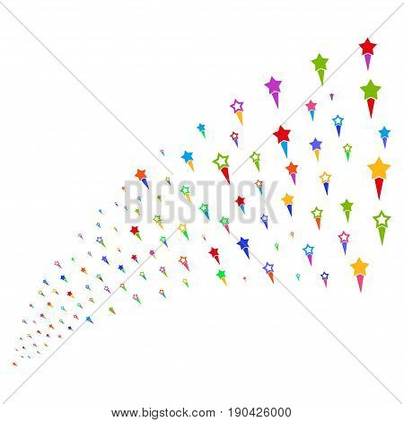 Fountain of confetti stars icons. Vector illustration style is flat bright multicolored iconic confetti stars symbols on a white background. Object fountain made from symbols.