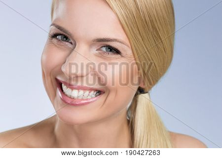 Happy Young Woman Grinning
