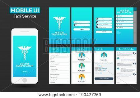Mobile app Doctor consultation online Material Design UI UX GUI. Responsive website