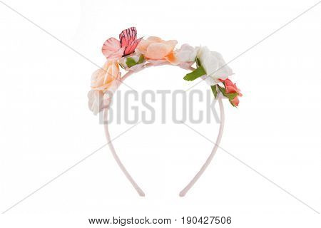 Flower wreath with butterfly, isolated on white