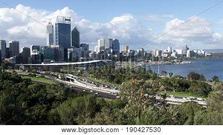 PERTH, AUSTRALIA 19 May 2017:  View of the Perth city skyline from Kings Park