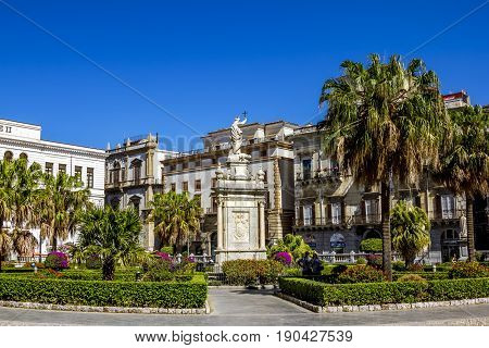 Palermo.Italy.May 26 2017.View of the square in front of the Cathedral in Palermo. Sicily