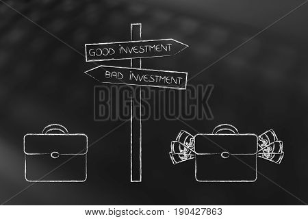 Bag With Cash Next To Good Investment Road Sign And Empty One Next To Bad