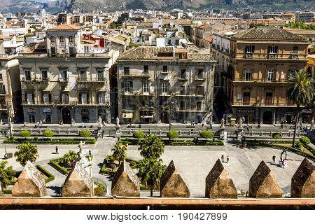 Palermo.Italy.May 26 2017.View of the historic centre and the area in front of the Cathedral from the roof in Palermo. Sicily