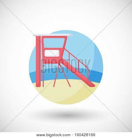 Lifeguard station icon Flat design of swimming safety on the beach with round shadow vector illustration