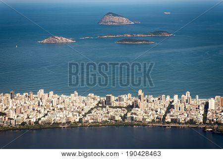 View of Ipanema District and Cagarras Islands in the Horizon of the Ocean in Rio de Janeiro, Brazil