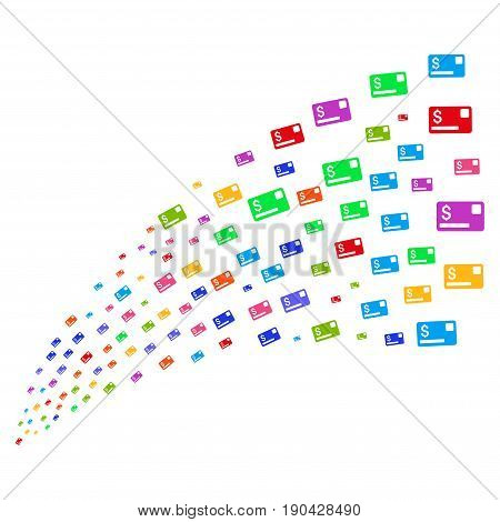Stream of credit card icons. Vector illustration style is flat bright multicolored iconic credit card symbols on a white background. Object fountain done from pictograms.