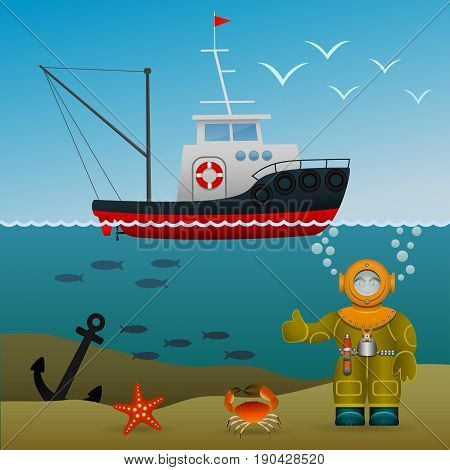 Fisherman s ship in the open sea. Diver under water on the seabed. Sea inhabitants and the lost anchor. Cartoon image. Vector illustration.