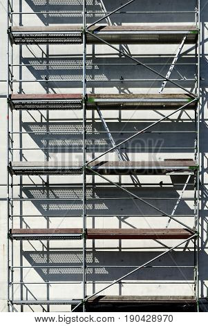 Scaffolding on a construction site in daylight