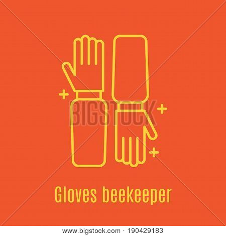 Vector illustration of thin line icon Beekeeper s Gloves for medicine, apitherapy, beekeeping products, cosmetics, soap. Linear symbol