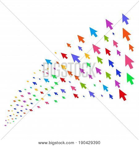 Fountain of cursor arrow icons. Vector illustration style is flat bright multicolored iconic cursor arrow symbols on a white background. Object fountain combined from design elements.