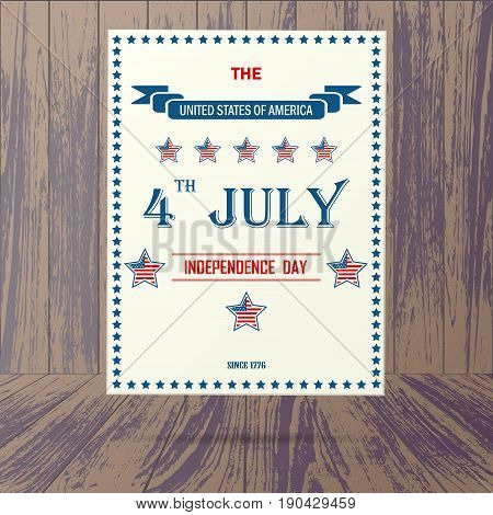 Wooden background with USA independence day poster