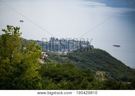 View from Monte Baldo on Malcesine, mountain